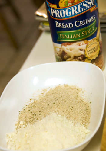 I use Progresso Italian Style breadcrumbs with a whole lot of pecorino cheese.